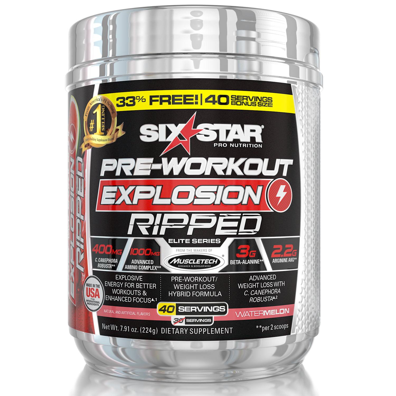 Six Star Pro Nutrition Pre Workout Explosion Powder, Watermelon, 40 Servings