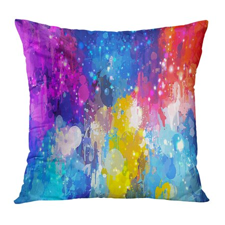 Spatter Brush - ECCOT Watercolor Bright Colorful Shine Brush Strokes Spatter Rainbow Abstract Mix Stain PillowCase Pillow Cover 16x16 inch