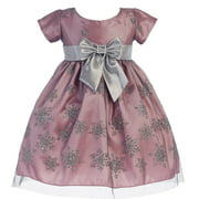 Baby Girls Pink Silver Glitter Snowflake Tulle Christmas Dress 6-24M