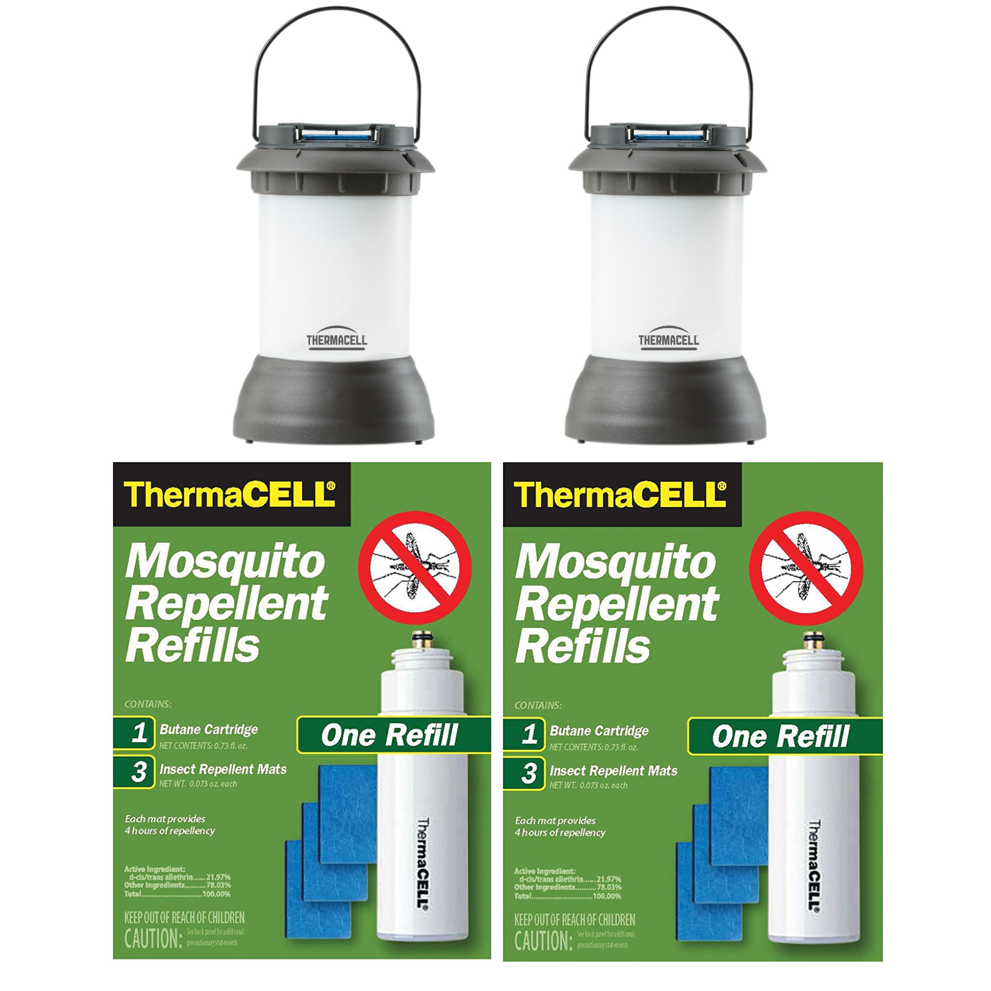 Click here to buy ThermaCELL Patio Shield Mosquito Repeller plus Lanterns (2) & 2 R-1 Refill Packs by Thermacell.