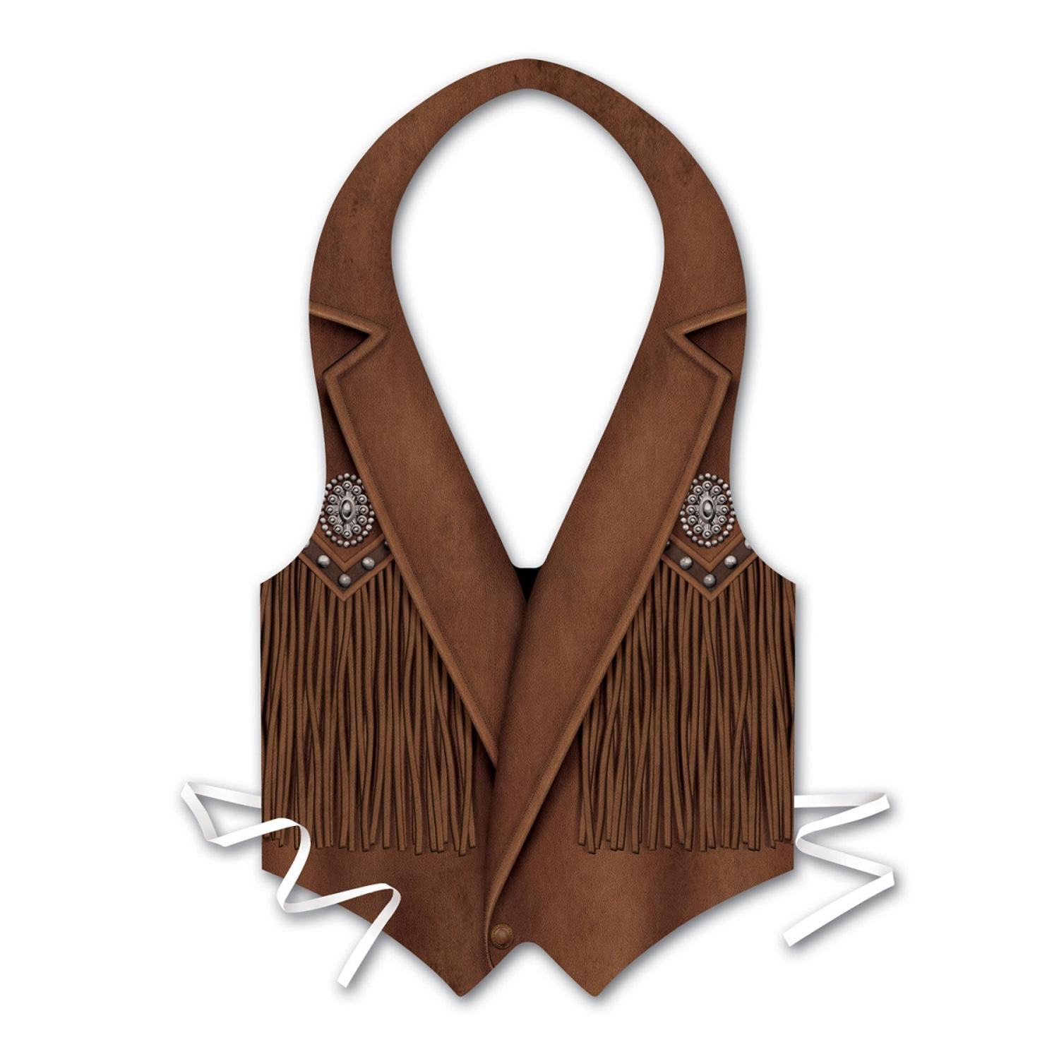 Club Pack of 24 Plastic Cowboy Vest with Fringe Costume Accessory