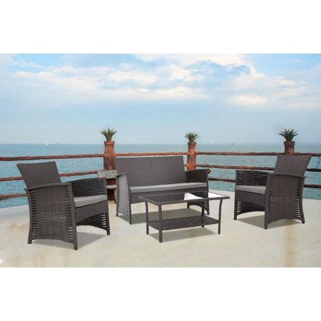 Baner Garden N82-CH 4 Piece Outdoor Furniture Complete Patio Wicker Rattan Garden Conversation Set with Cushions, Chocolate 4 Piece Complete Set