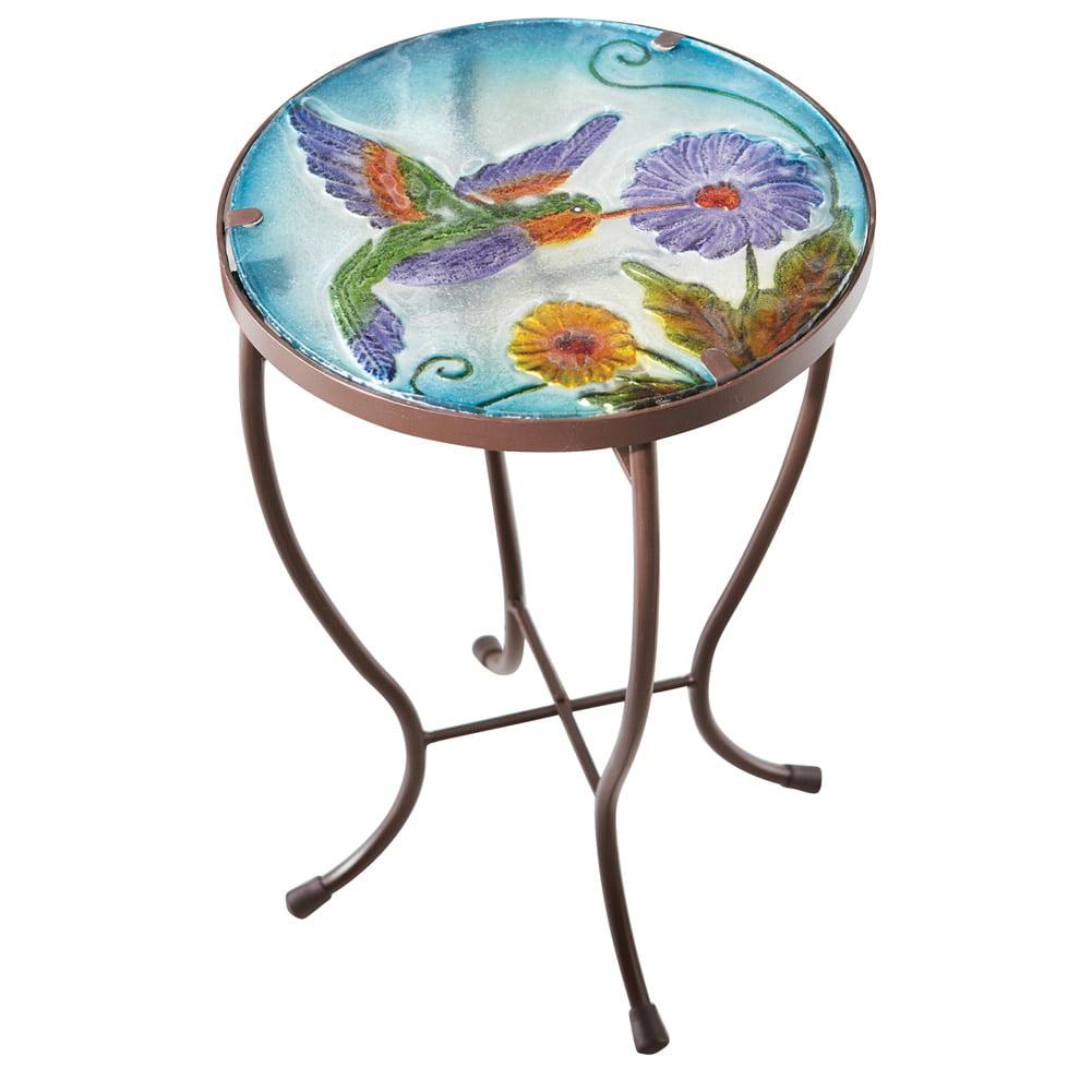 Hummingbird Round Glass Metal Indoor Outdoor Garden Patio Accent Table