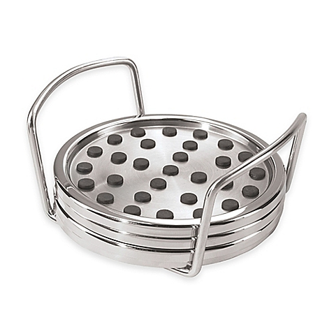 Oggi Stainless Steel Non-Skid Coaster Set with Stand - 5 Pieces