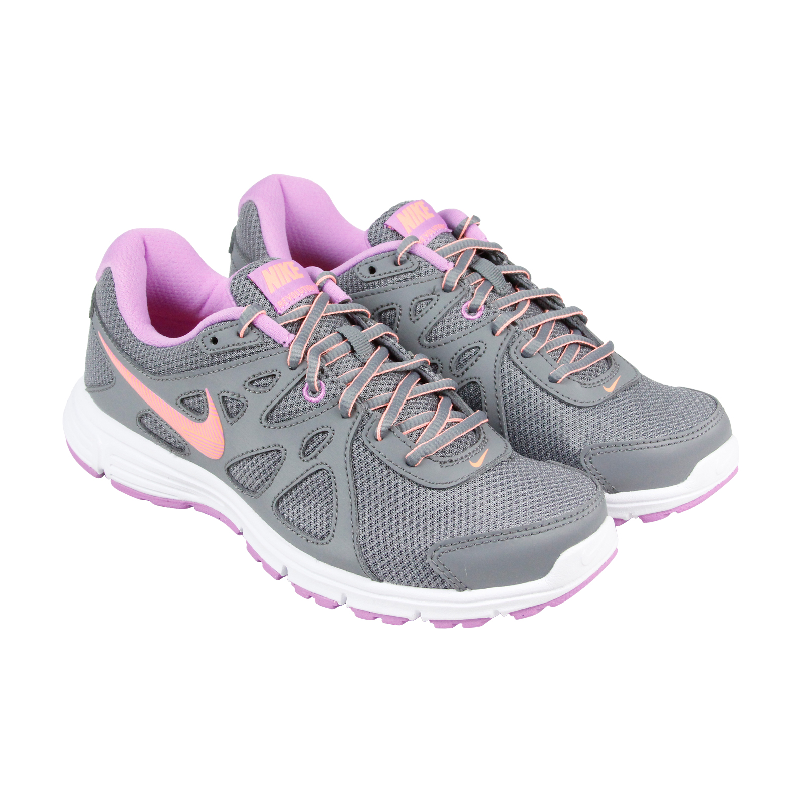 Nike Revolution 2 Womens Gray Pink Mesh & Leather Athleti...
