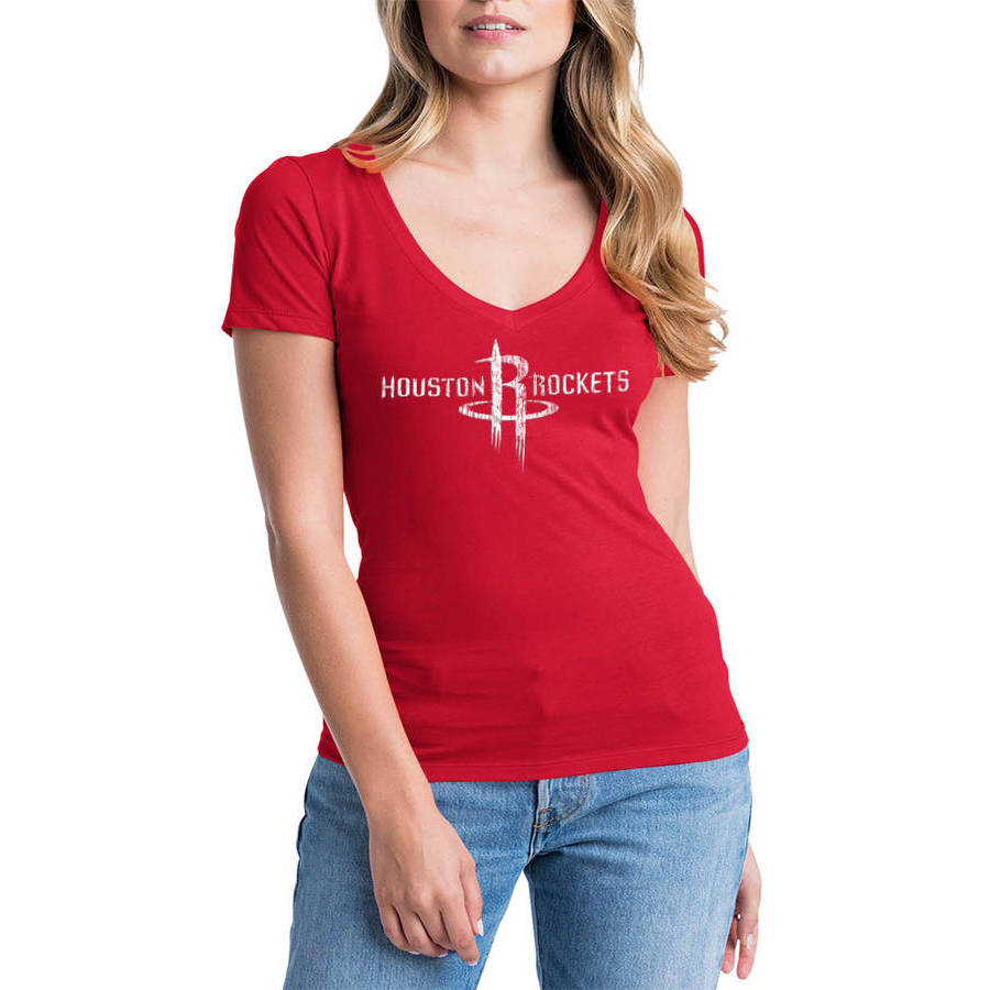 NBA Houston Rockets Women's Short Sleeve V Neck Graphic Tee