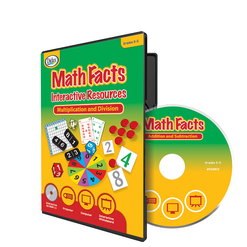 Didax Math Facts Interactive Resources Software CD-ROM for Interactive Whiteboards, Multiple Subjects