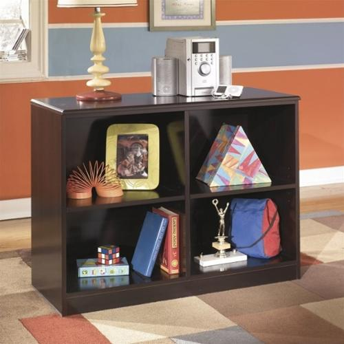 Ashley Embrace 4 Cubby Wood Loft Bookcase in Merlot