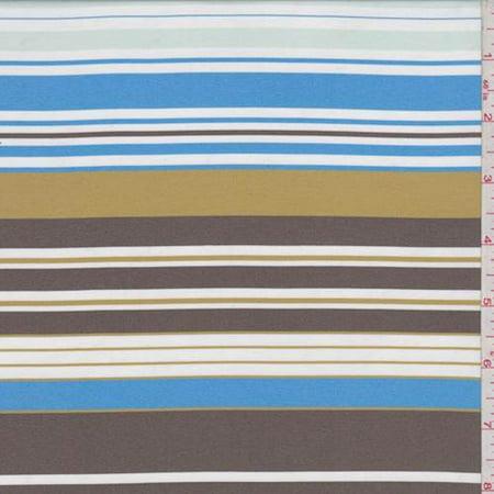 Aqua/Mocha/Gold Stripe Satin Taffeta, Fabric By the Yard