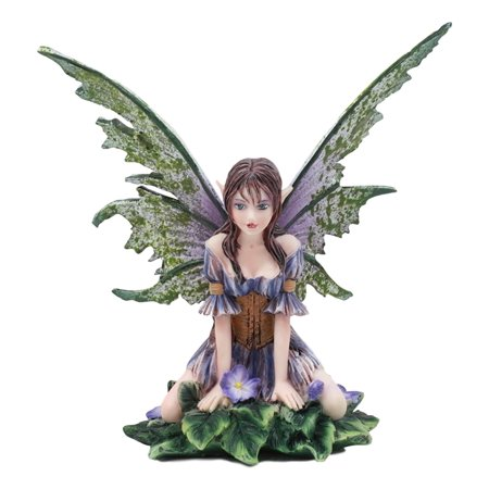 "Ebros Amy Brown Whimsical ""Viola"" Violet Flower Garden Fairy Figurine Fae Magic Statue Fantasy Collectible 5.25""H"