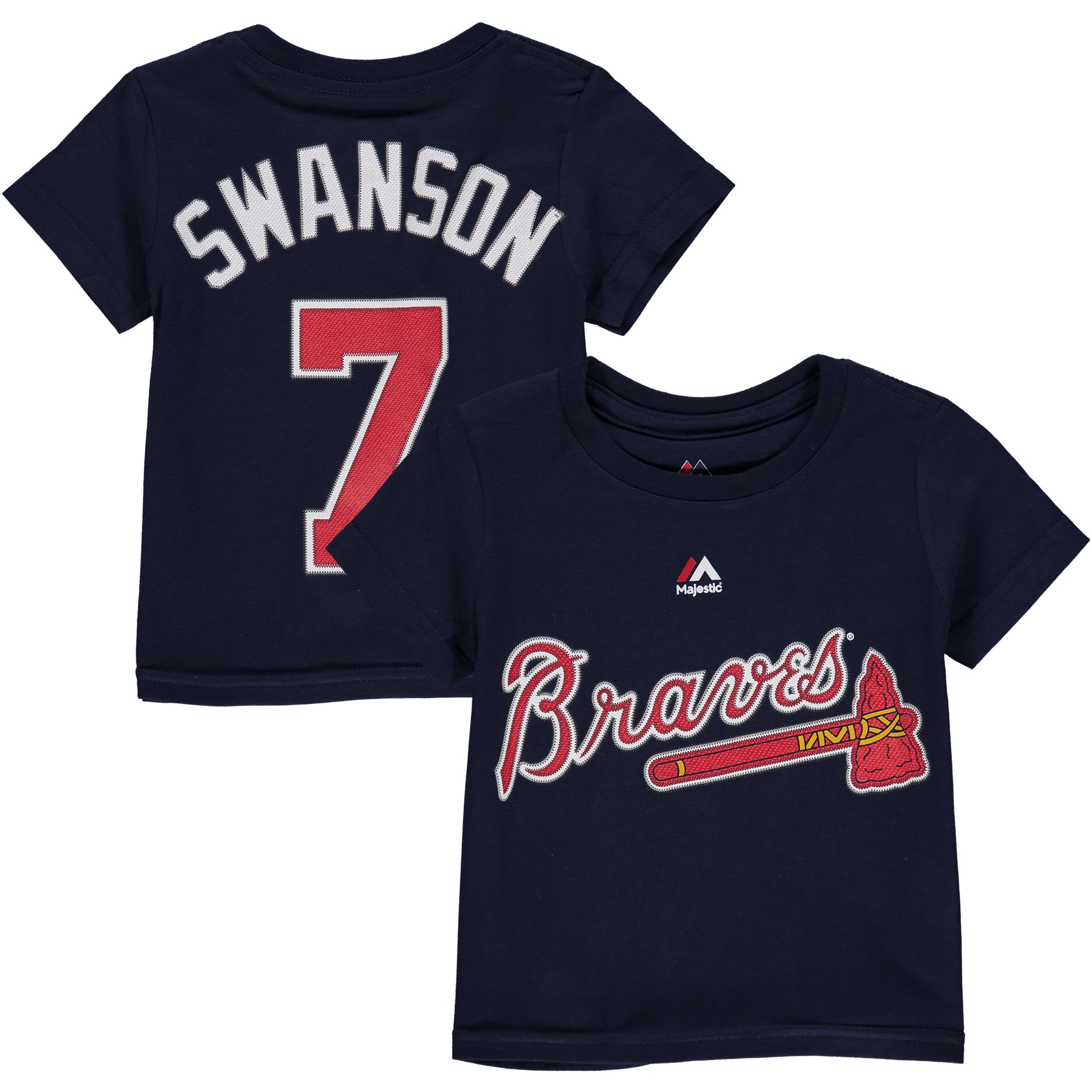 Dansby Swanson Atlanta Braves Majestic Youth Player Name & Number T-Shirt - Navy