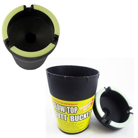 2 Glow Top Butt Bucket Car Cigarette Ashtray Odor Remover Glow In The Dark Cups
