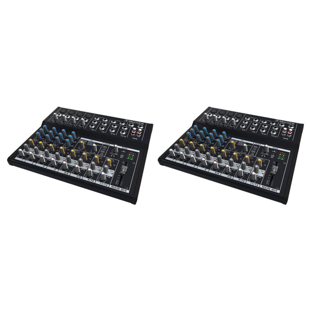 Mackie Mix12FX MIX 12 Channel Compact Portable DJ Mixer w/ Effects (2 Pack)