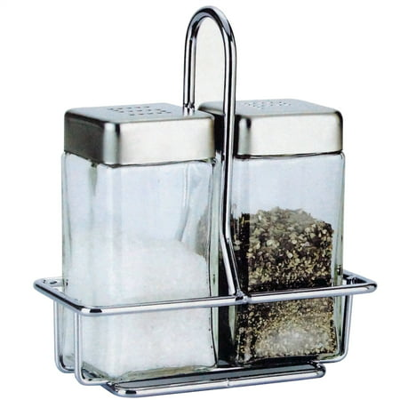 Salt and Pepper Glass Shakers Stainless Steel Lid and Wire Rack Stand - Restaurant Shaker