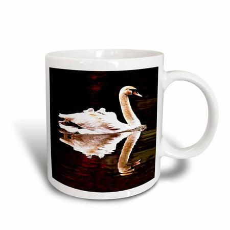 3dRose Swan, Ceramic Mug, 11-ounce
