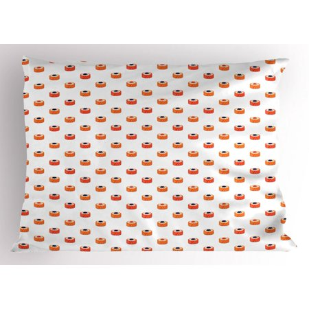 Case Caviar - Sushi Pillow Sham, Repeating Food Pattern Raw Fish and Rice with Caviar Toppings Flat Style, Decorative Standard Size Printed Pillowcase, 26 X 20 Inches, Orange Salmon Dark Blue, by Ambesonne