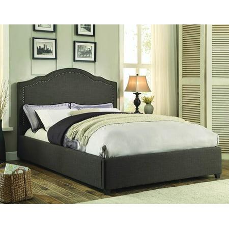 Homelegance Zaira Upholstered Platform Bed in Dark Grey - (Full)