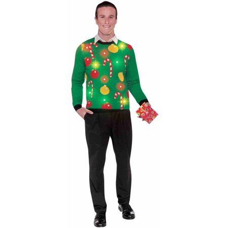 Christmas Light-Up Ugly Sweater Men's Adult Halloween Costume - Light Up Halloween Costumes For Adults