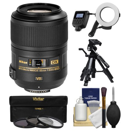 Lens Protection Ring - Nikon 85mm f/3.5 G VR AF-S DX ED Micro-Nikkor Lens + Macro Ring Light & Tripod + 3 Filters Kit for D3200, D3300, D5300, D5500, D7100, D7200, D500, D750, D810 Cameras