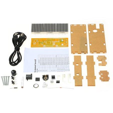 Electronic Dot Matrix Time Recorder - High Accuracy DIY Digital Dot Matrix LED Alarm Clock Kit with Transparent Case Temperature Date Time Display