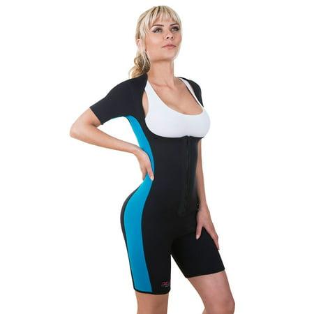 3b047dab3f Neo Sweat Slimming Sauna Body Suit Sports Neoprene with Sleeves Shaper for  Gym Yoga Aerobics Run Workout 304 Small - Walmart.com