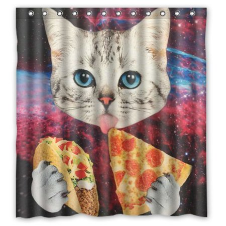 Hellodecor eating pizza space cat shower curtain polyester for Space cat fabric