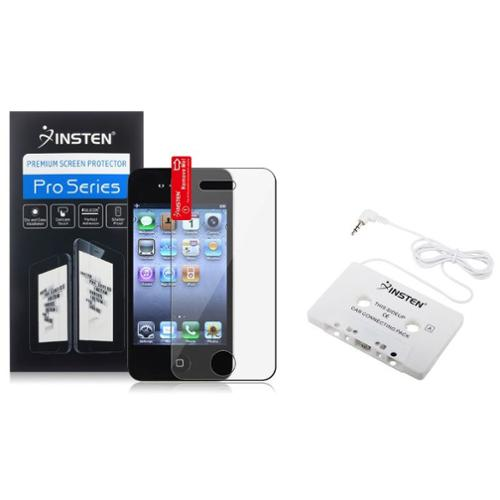 Insten Aux Cassette Adapter for Car Cassette Adapter MP3 + Screen Protector Film Accessory for Apple iPhone 4 s 4S 4GS 4G (2-in-1 Accessory Bundle)