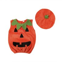 Kids Baby Girl Boy Halloween Pumpkin Hat Cosplay Outfit Party Fancy Dress Clothes Costume