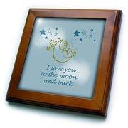 3dRose I Love You to the moon and back - Framed Tile, 6 by 6-inch