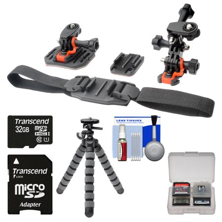 Essentials Bundle for Replay XD 1080 Mini & Prime X Action Video Camera Camcorder with Flat Surface, Curved & Vented Helmet Mounts + 32GB Card + Flex Tripod + Kit ()