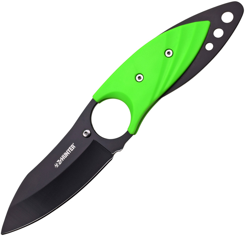 "Master Cutlery ZB-139 Z-Hunter 7"" Neck Knife Black Blade with Green Plastic Handle and Sheath"