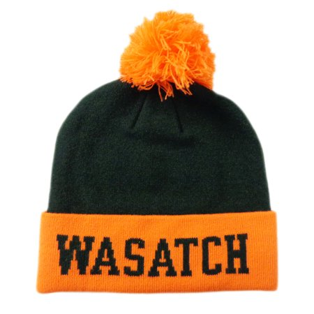 New Pukka Wasatch Mountain Utah Green Orange Pom Pom Winter Beanie Hat