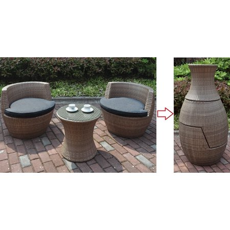 3pc Conversation Casual Resin Wicker Outdoor Garden Set - 2 Chairs and 1 Table ()