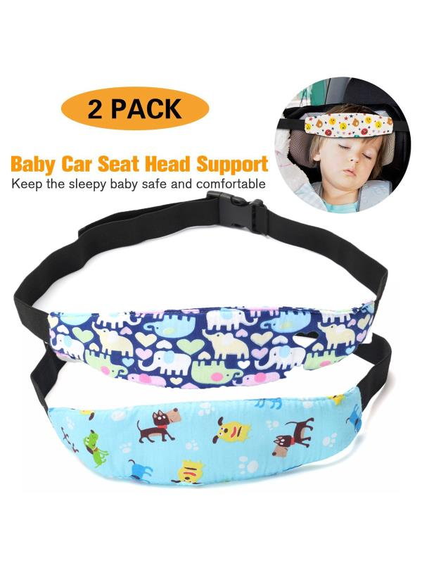 2-Pack Adjustable Safety Baby Kids Car Seat Neck Relief Head Support Safety Stroller Sleeping Belt, Light Blue... by