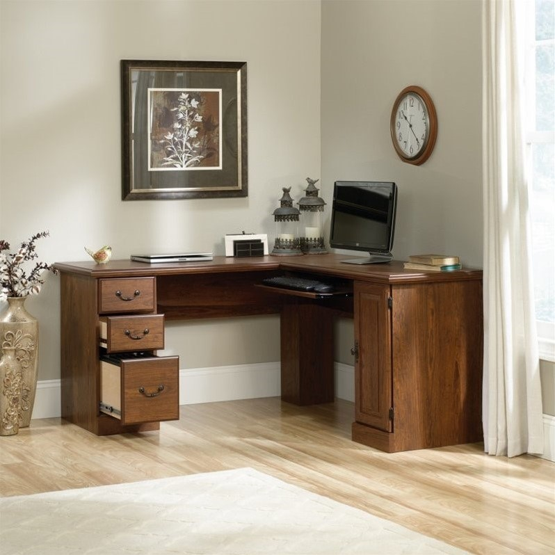 Sauder Orchard Hills L Shaped Computer Desk In Milled Cherry