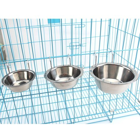 Stainless Steel Hanging Dog Bowl with Hook, Water and Food Bowl for Pet Dog Cat Rabbits Bunny in Crate Cage Kennel