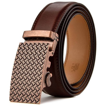 men's leather ratchet dress belts with automatic buckle gift box maximum 44