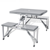 Outdoor Furniture Foldable Camping Table Set with 4 Stools Aluminum Extra Light - Gray