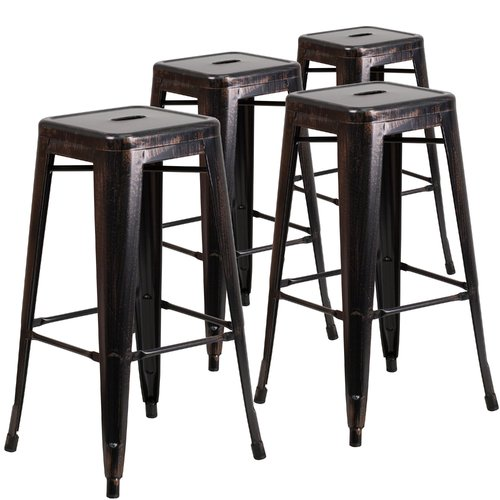 Flash Furniture 4pk 30'' High Backless Black-Antique Gold Metal Indoor-Outdoor Barstool with Square Seat