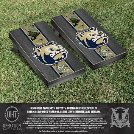 Operation Hat Trick Wingate Bulldogs Cornhole Game Set Onyx Stained Stripe Version