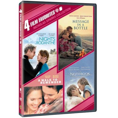 4 Film Favorites: Nicholas Sparks Romances - Nights In Rodanthe / The Notebook / Message In A Bottle / A Walk To Remember (DVD + $5 VUDU Offer) (Walmart Exclusive))