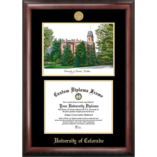 """University of Colorado, Boulder 8.5"""" x 11"""" Gold Embossed Diploma Frame with Campus Images Lithograph"""