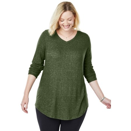 71168c99949 Woman Within - Plus Size Cozy V-neck Tunic - Walmart.com