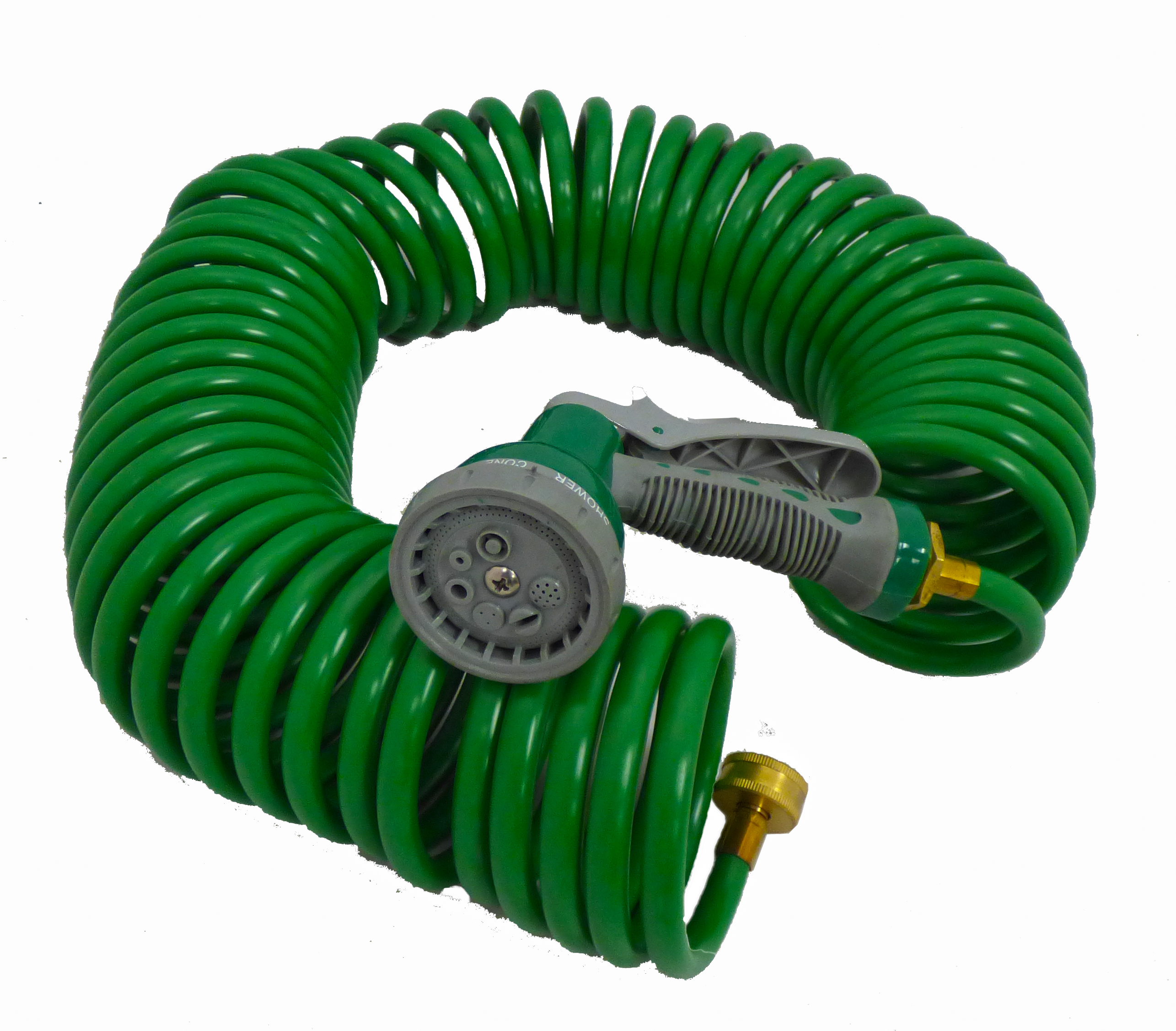green safe recoil coil garden hose with 7 pattern spray nozzle 50