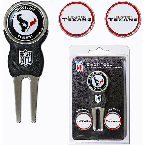 Team Golf NFL Houston Texans Divot Tool Pack With 3 Golf Ball Markers