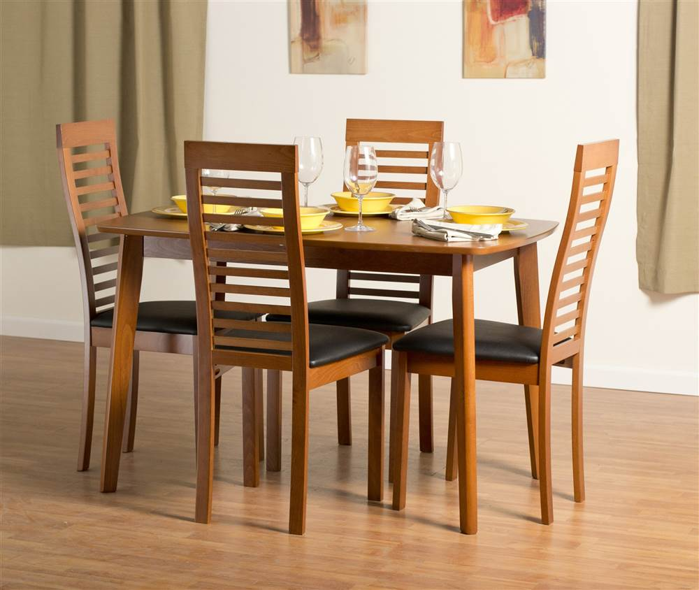 Dayton Dining Table Set With Denver Chairs In Cherry