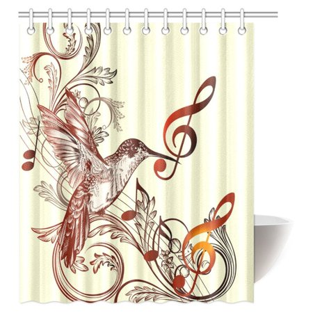 POP Hummingbirds Shower Curtain, Flying Bird and Music Notes Shower Curtain Set 60x72 inch - image 2 of 2