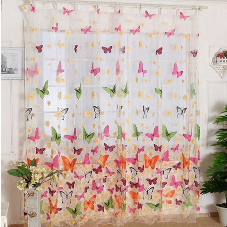 Butterfly Print Window Sheer Curtain Panels For Living Room Bedroom Size:100*200cm Butterfly Framed Panel Print