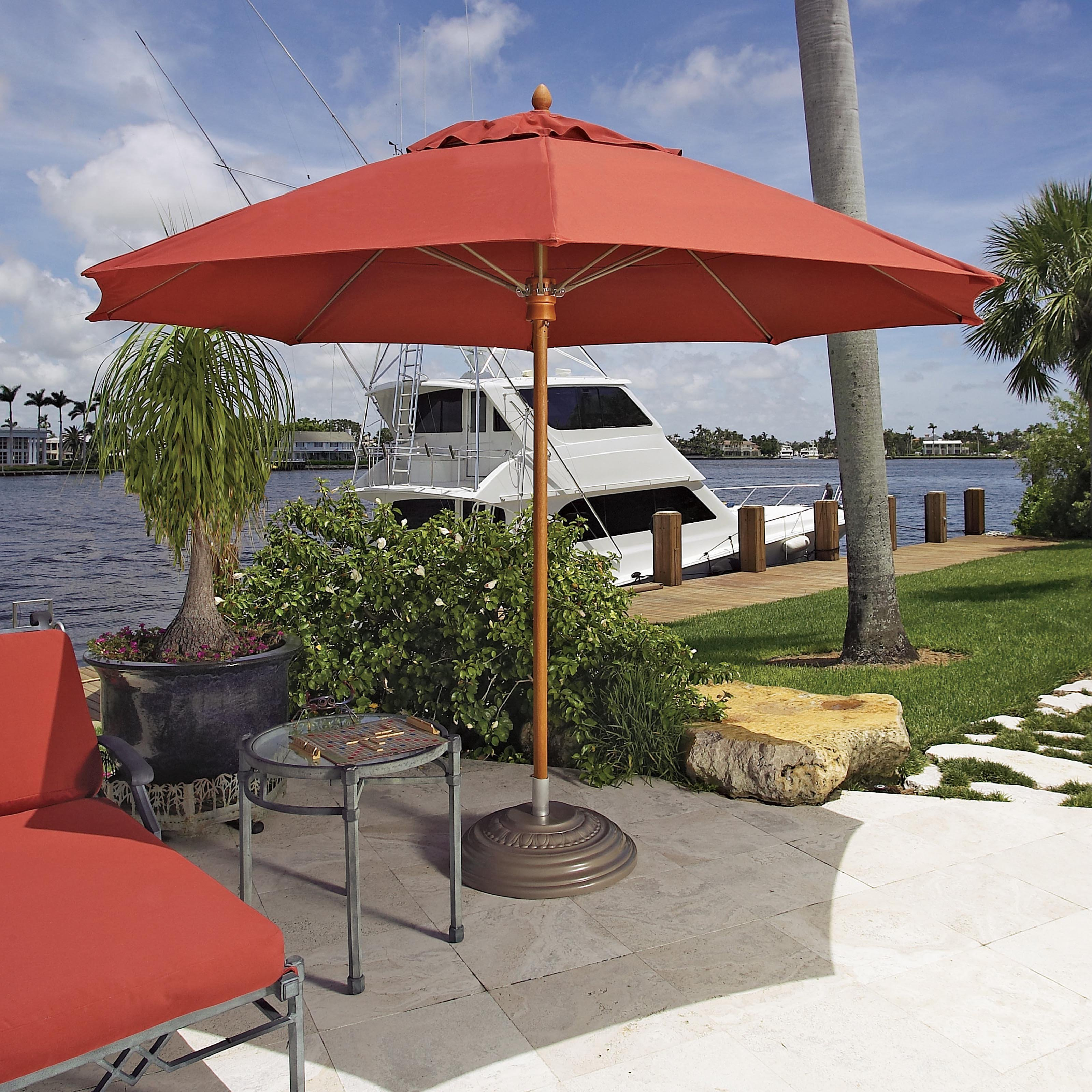 FiberBuilt Augusta 9-ft. Fiber Teak Contract Patio Umbrella