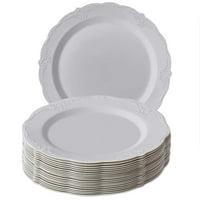 "DISPOSABLE DINNERWARE PLATES | Premium Reusable Plastic Dishes | 20 Dinner Plates |Vintage - Grey | 10.25"""